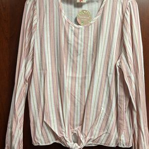 Striped long sleeve, front-tie blouse